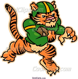 Tiger playing football Vector Clip art.