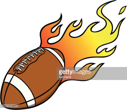 Football With Flames Vector Art.
