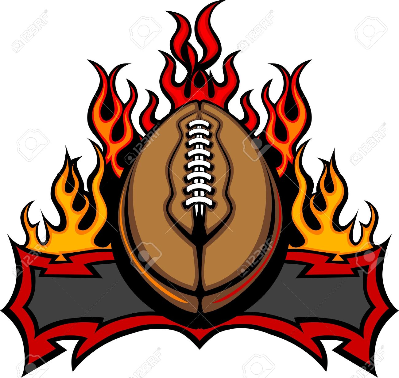 Graphic American Football Vector Image Template With Flames.