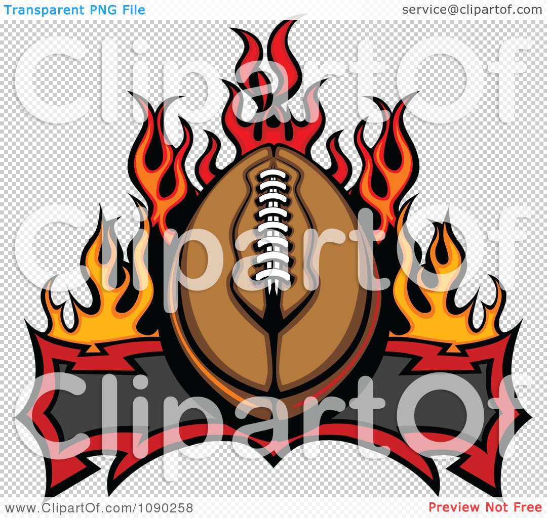 Clipart American Football Over A Banner And Flames.