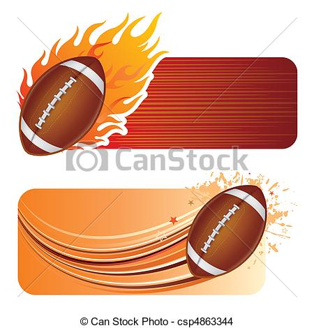 EPS Vector of american football with flames.