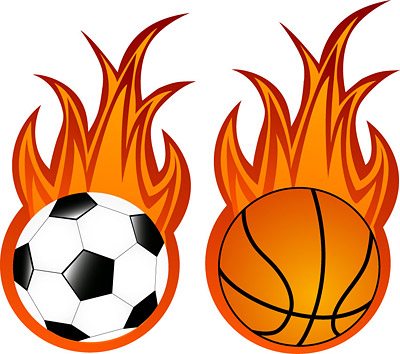 Basketball With Flames Clipart.