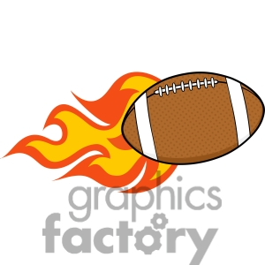 Showing post & media for Cartoon american football with flame.