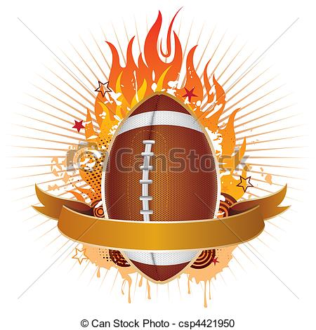 Football With Flames Clipart.