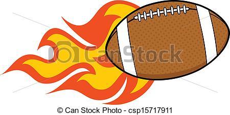 Vector Clip Art of Flaming American Football Ball Cartoon.