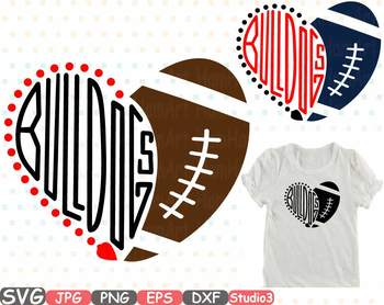 Bulldogs Hearts football sport sports clipart NFL football heart School.