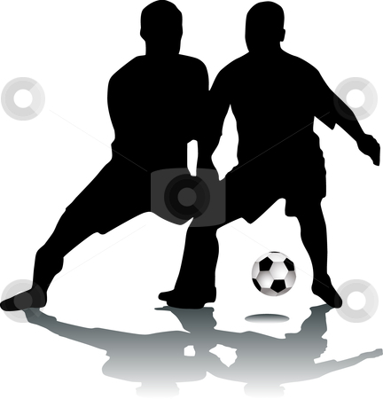 Silhouette footballers stock vector.