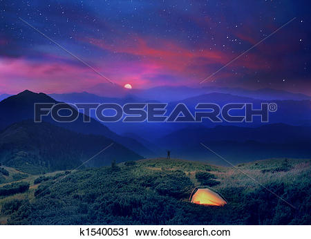 Stock Photography of moonrise in the foothills of the Alps.