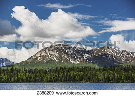 Stock Photograph of Foothills of the Alaska range and Byers lake.