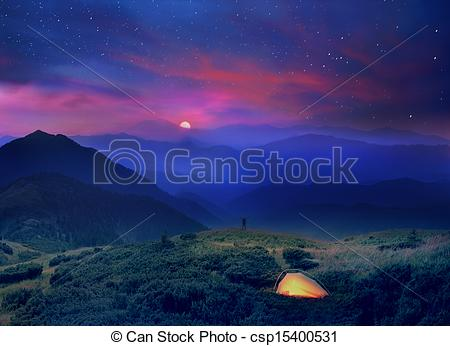 Stock Photos of moonrise in the foothills of the Alps.