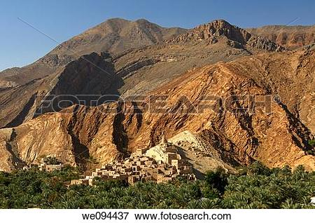 Picture of Mountain village of Misfah al Abriyeen in the foothills.