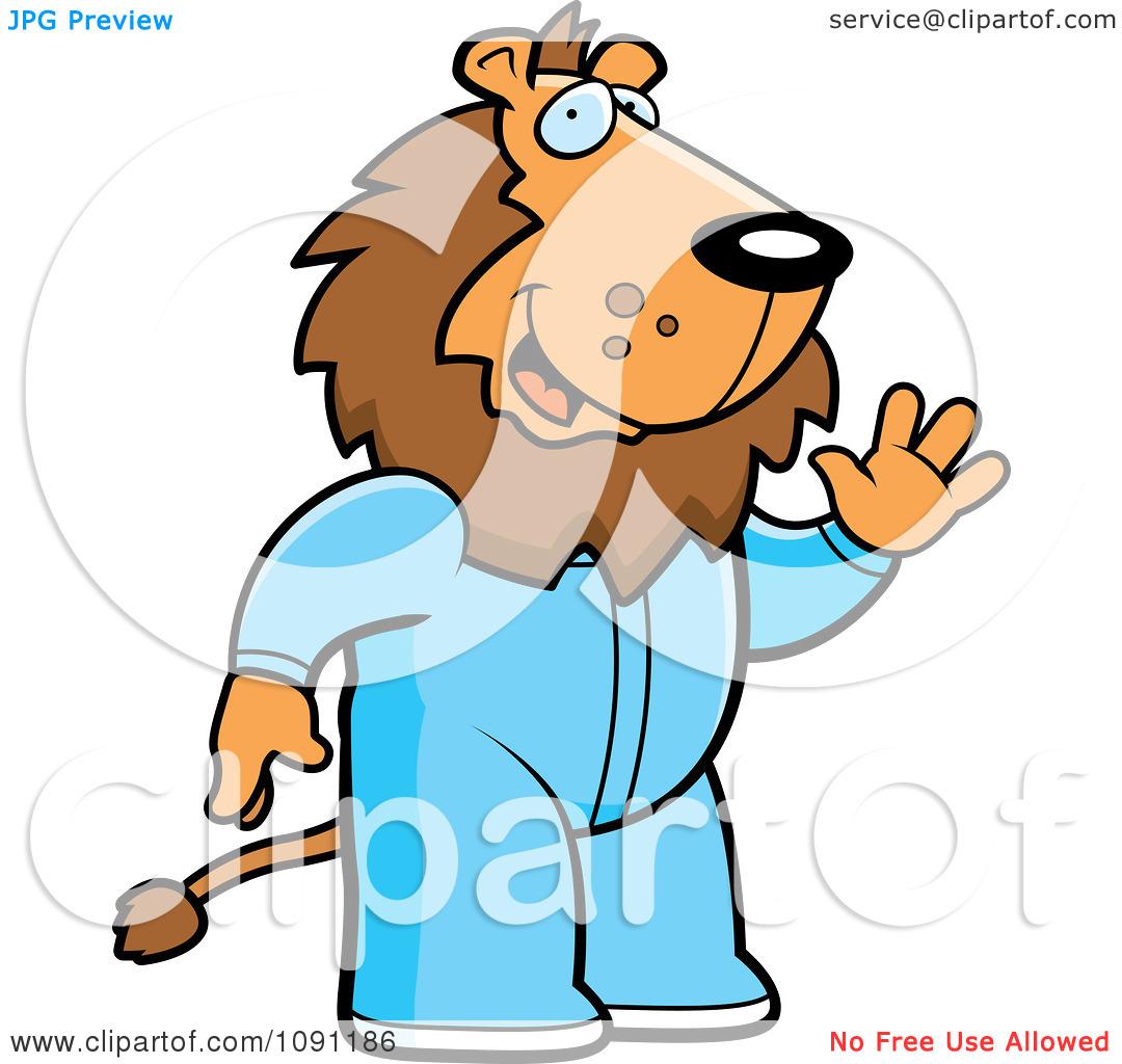 Clipart Waving Lion In Footie Pajamas.
