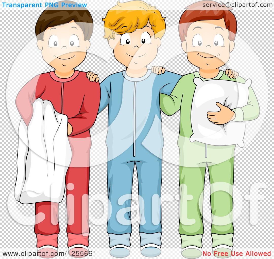 Clipart of Three Boys Posing in Footie Pajamas.