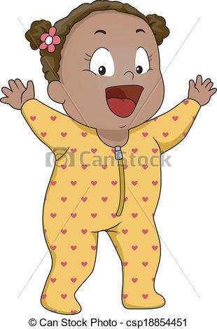 Vector Clip Art of Baby Boy Footie Pajamas.