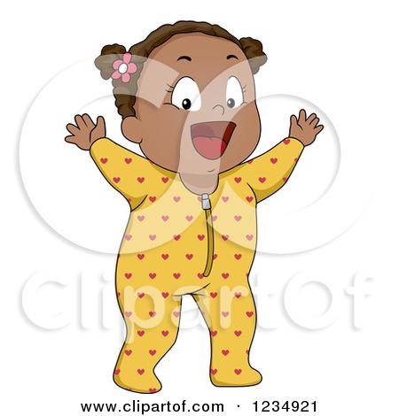 Clipart of a Happy Black Baby Girl in Footie Pjs.