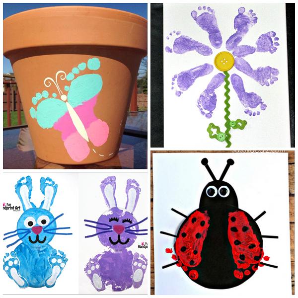 Darling Spring Footprint Crafts for Kids.