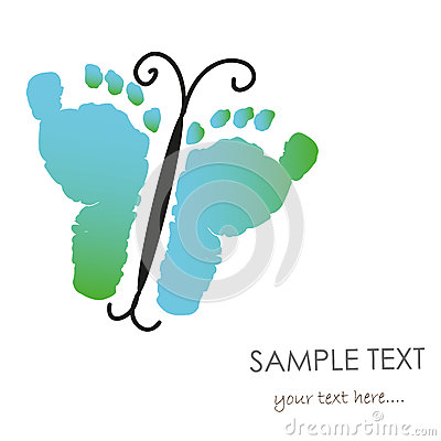 Baby Footprints And Butterfly Greeting Card Stock Vector.