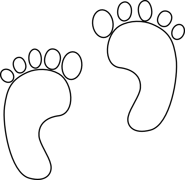Footprint Clipart Black And White Outline.