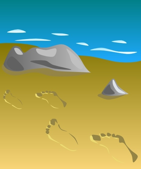 Footprints In Sand clip art Free vector in Open office.