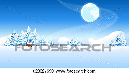 Footprints on the snow Clipart.