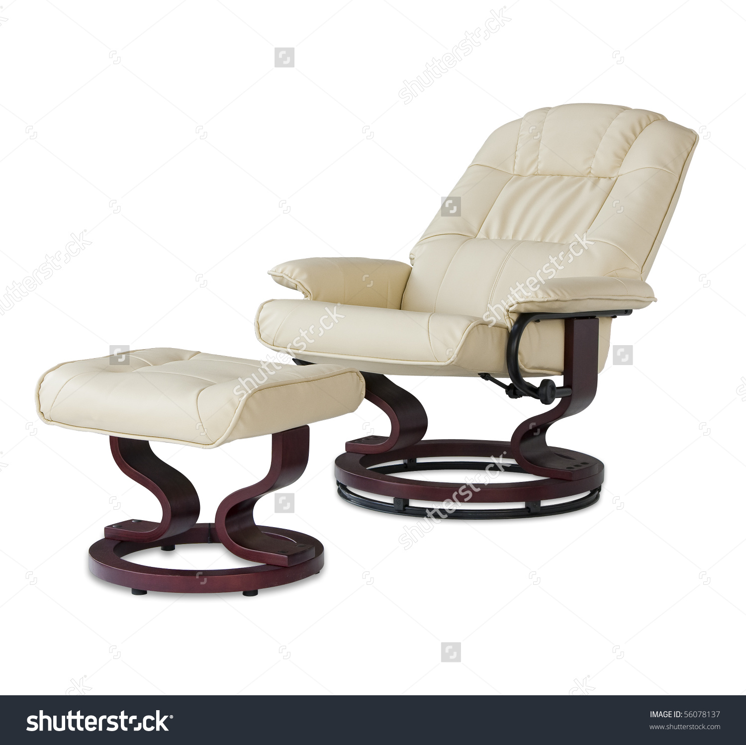 Reclining Leather Massage Chair Foot Rest Stock Photo 56078137.