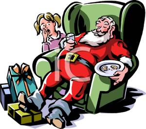 of Santa Sleeping on the Job Holding Cookies and Milk, Using a.