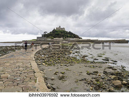 "Stock Photo of ""Footway to St. Michael's Mount at low tide."