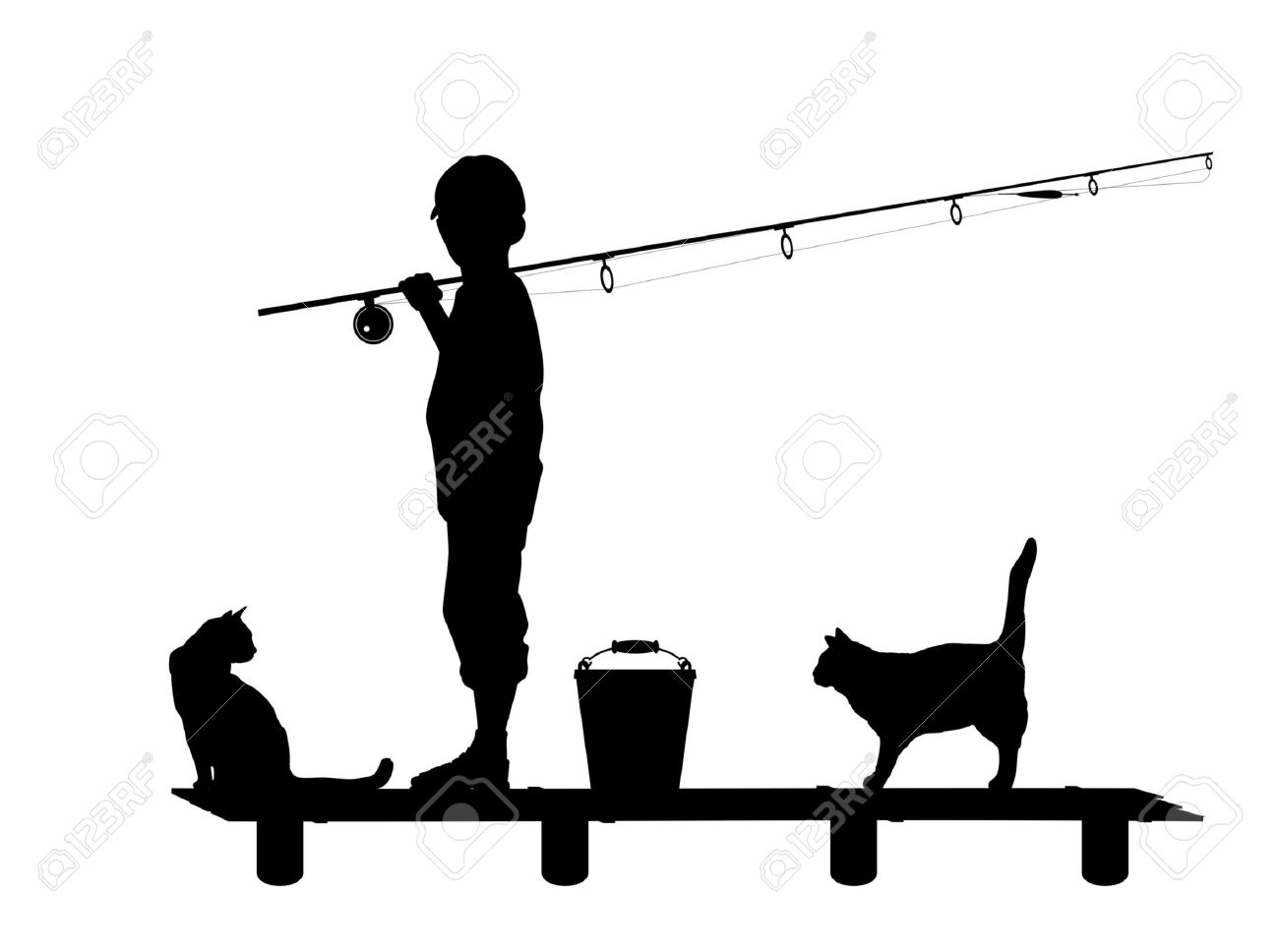 Silhouette Of The Child With A Fishing Tackle On Wooden Planked.