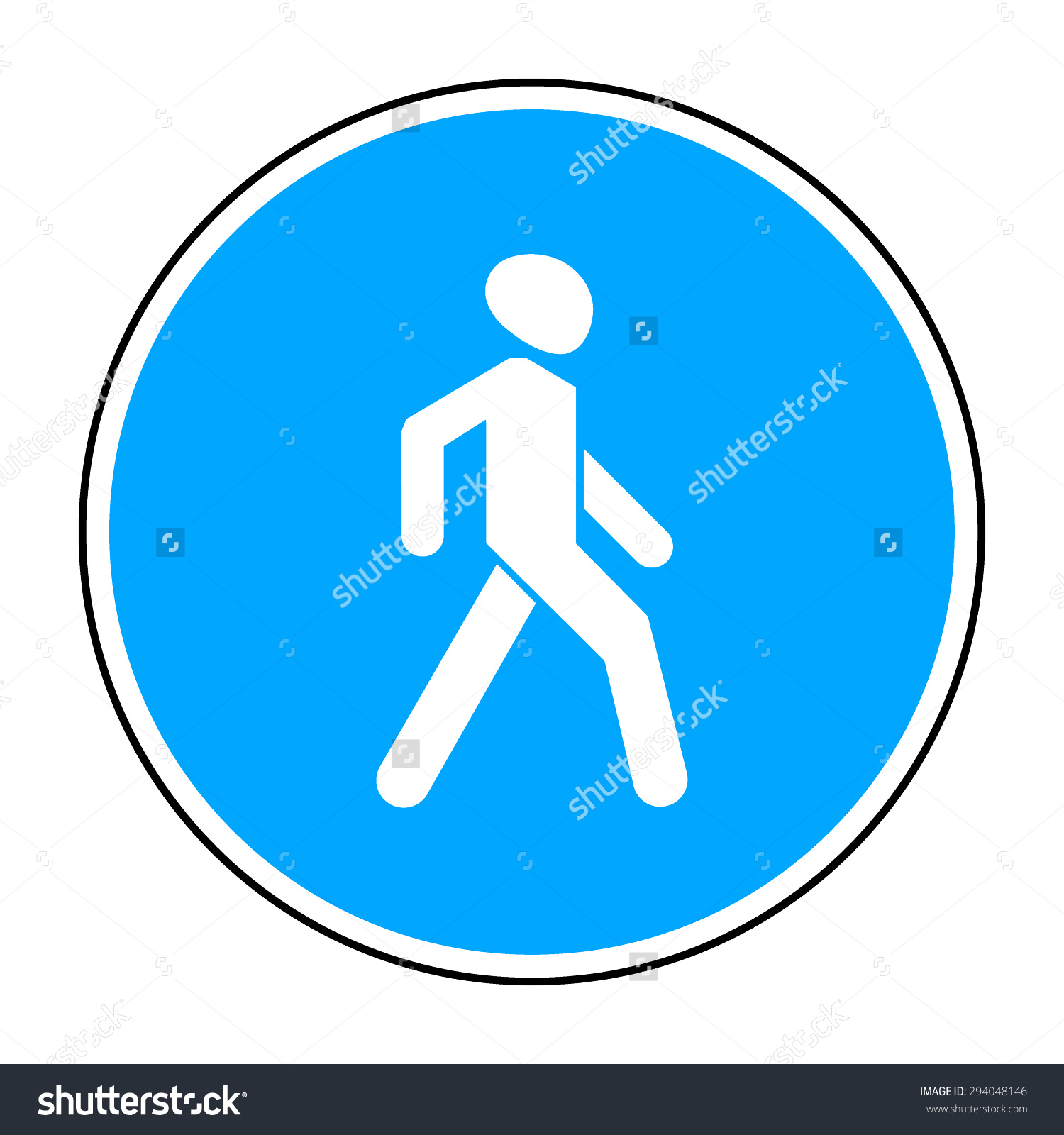 Footpath Road Sign Blue Circle Isolated Stock Vector 294048146.
