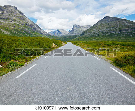 Stock Photography of Straight and empty mountain road k10100971.