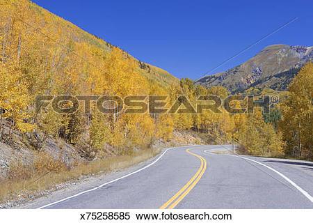 Stock Image of USA, Colorado, Silverton, empty mountain road.