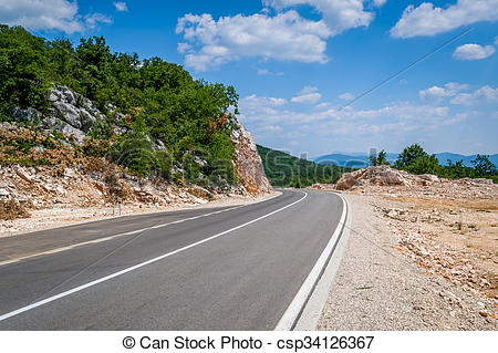 Stock Image of Mountain highway in Montenegro.