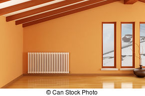 Stock Images of empty room with radiator.