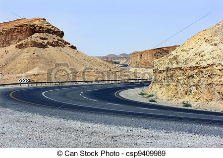 Stock Photographs of an empty mountain road.