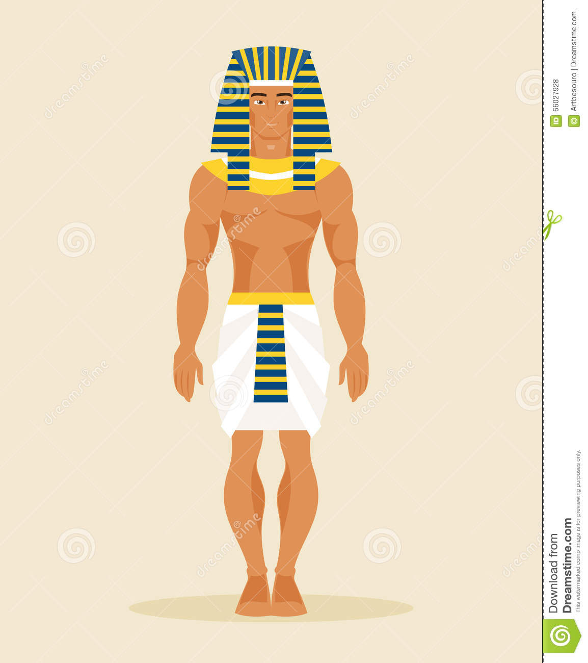 Ancient Egyptian Man. Vector Illustration Stock Vector.