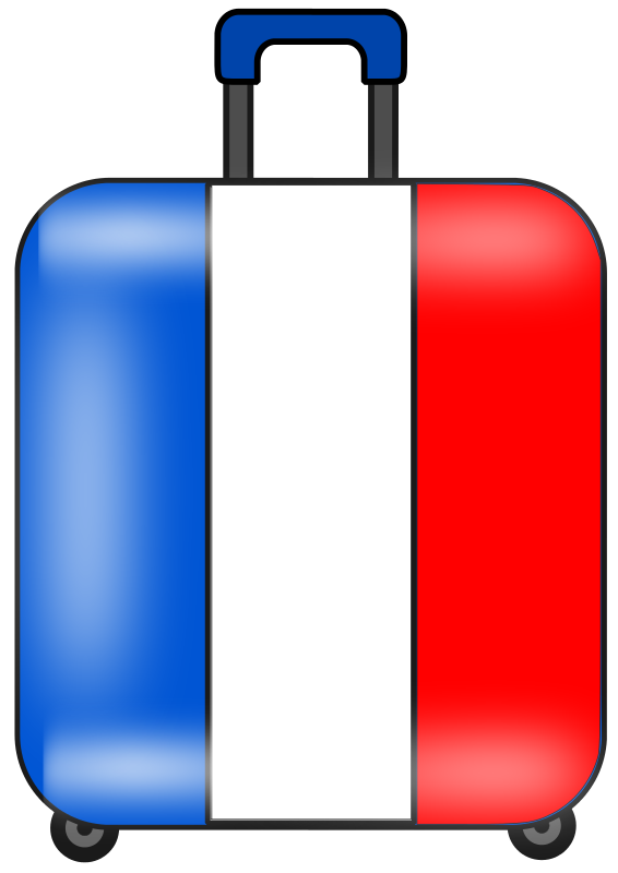 France Luggage Clipart.