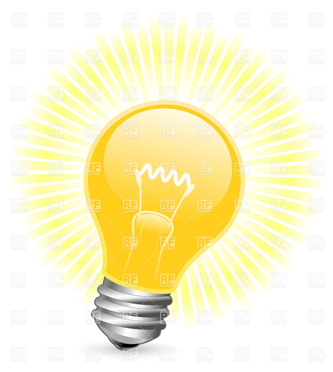 Bright Idea Light Bulb Clipart.