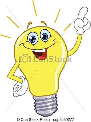 Vectors Illustration of Cartoon light bulb csp5259277.