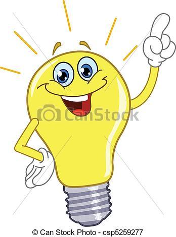 Vectors Illustration of Cartoon light bulb csp5259277.