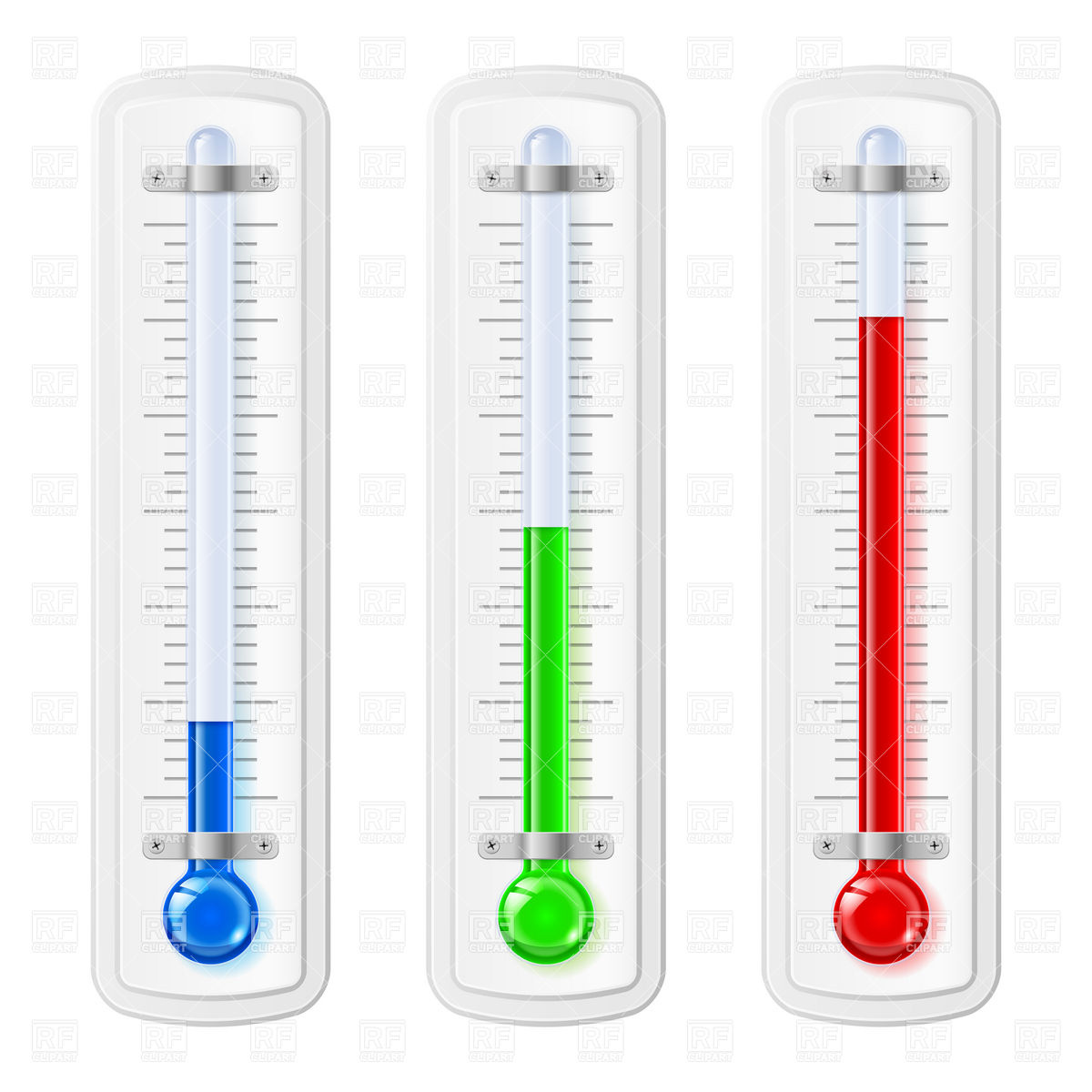 Coloured temperature indicators, thermometers Vector Image #6969.