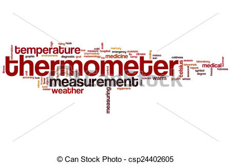 Stock Illustration of Thermometer word cloud concept with.