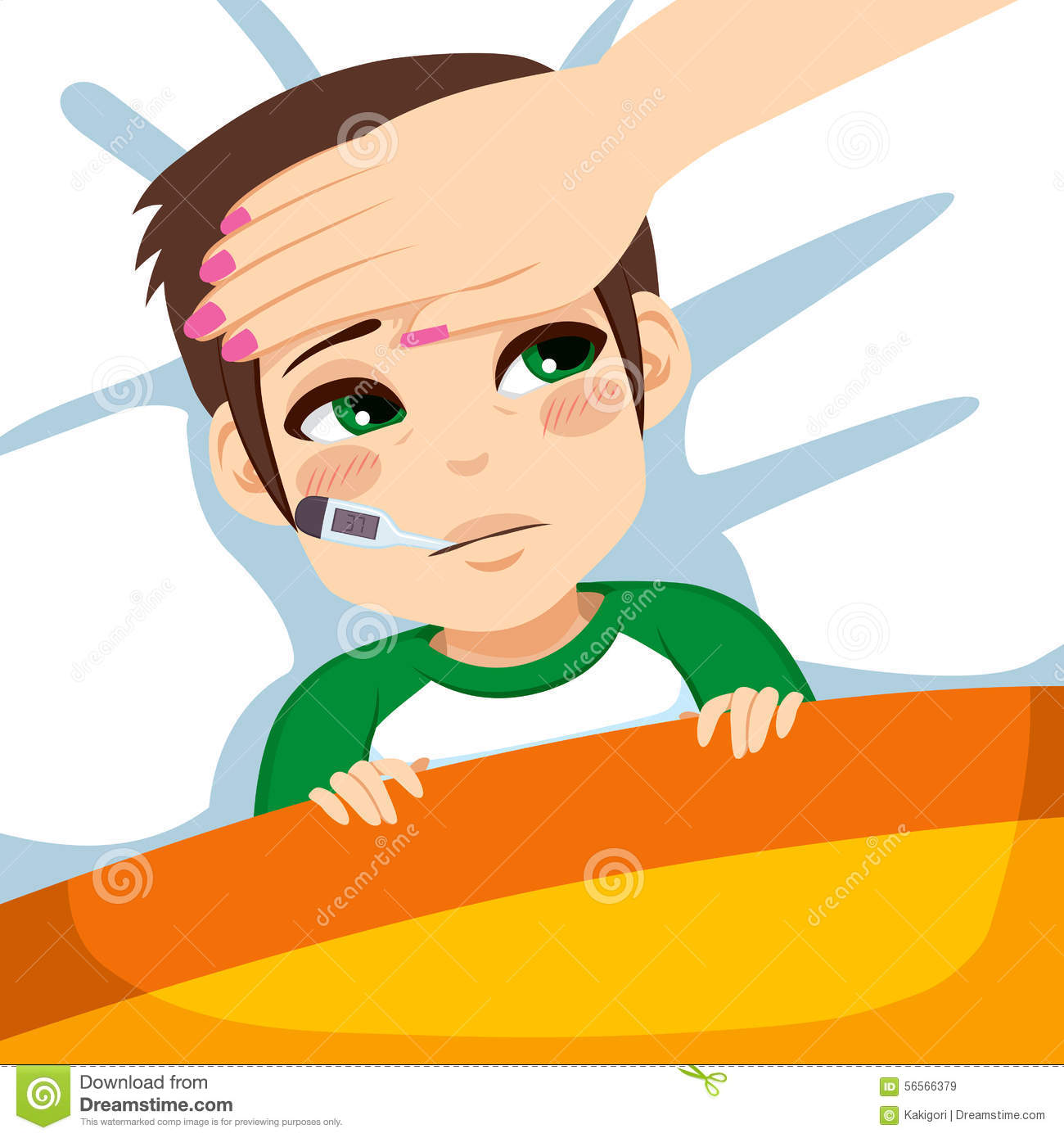 Boy With Thermometer In Bed Stock Vector.