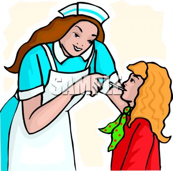 Picture of a Nurse Checking a Patient's Temperature In a Vector.