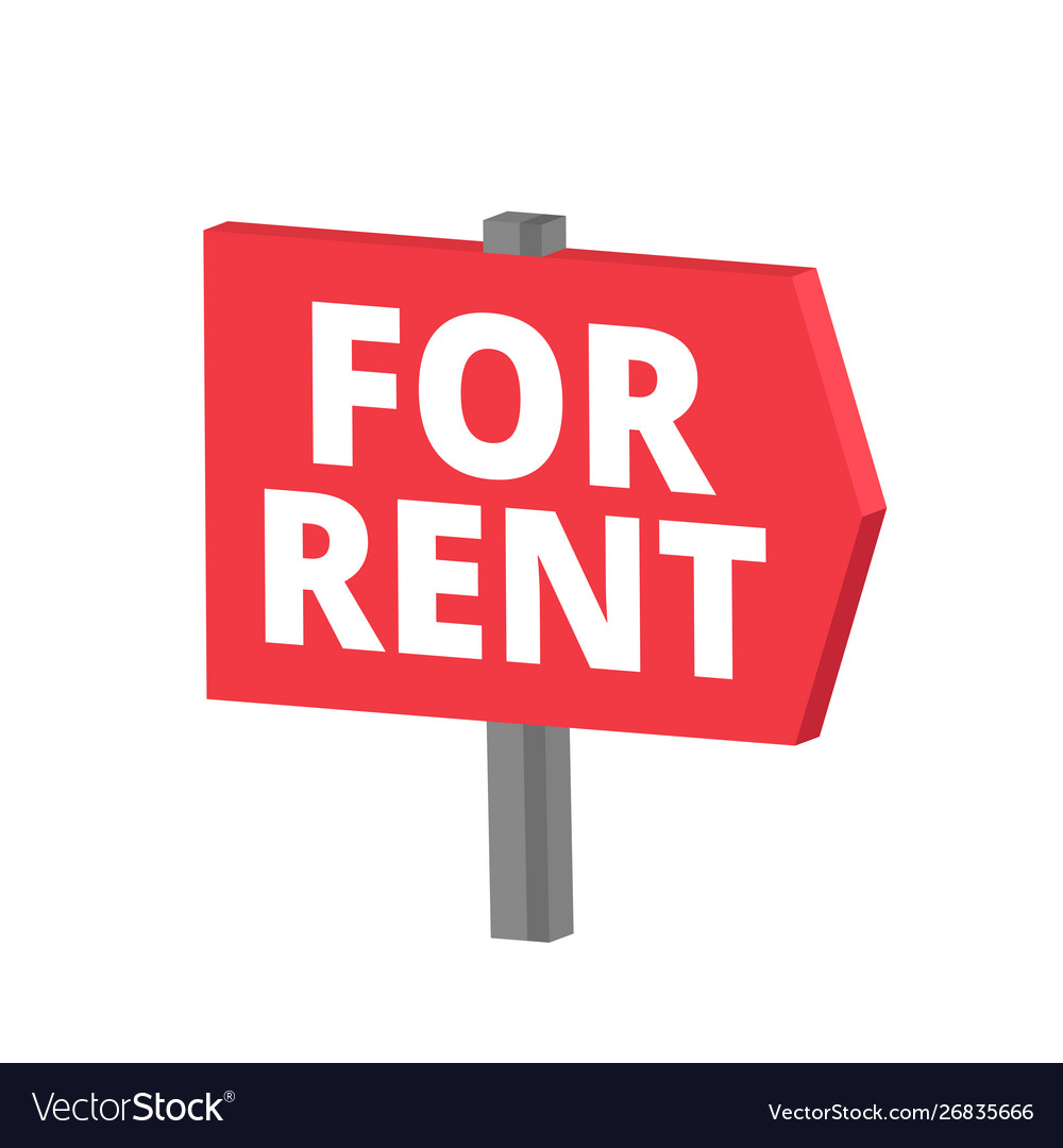 Signboard for rent arrow road sign text title.