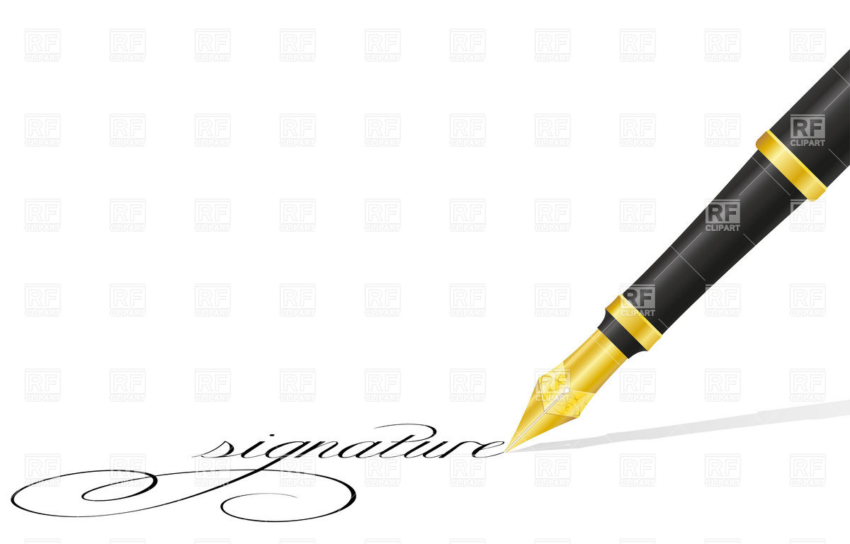 Ink pen and signature Stock Vector Image.