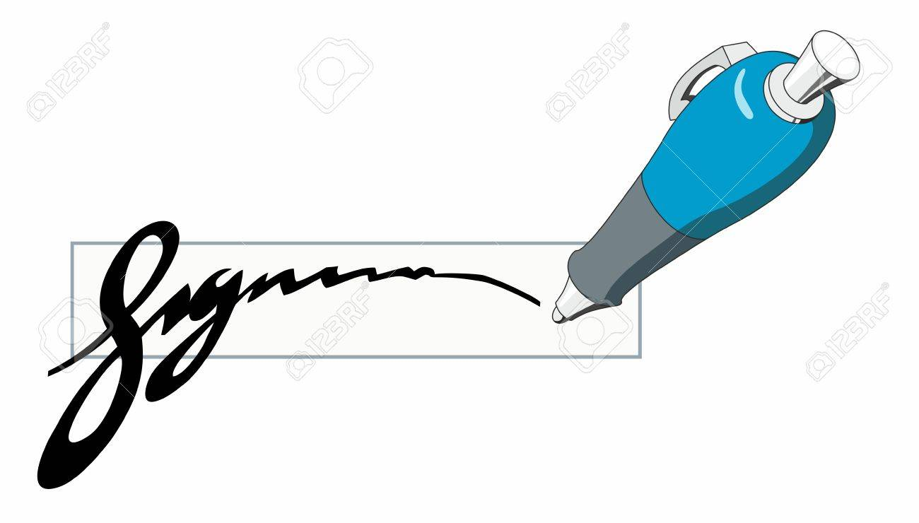 Blue ballpoint pen writing a stylized signature isolated clipart...