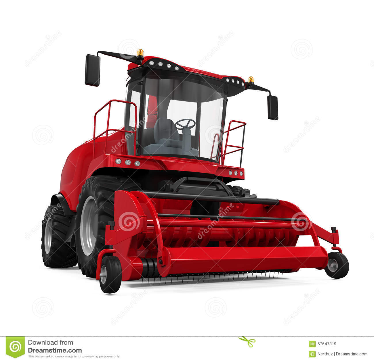 Red Forage Harvester Stock Illustration.