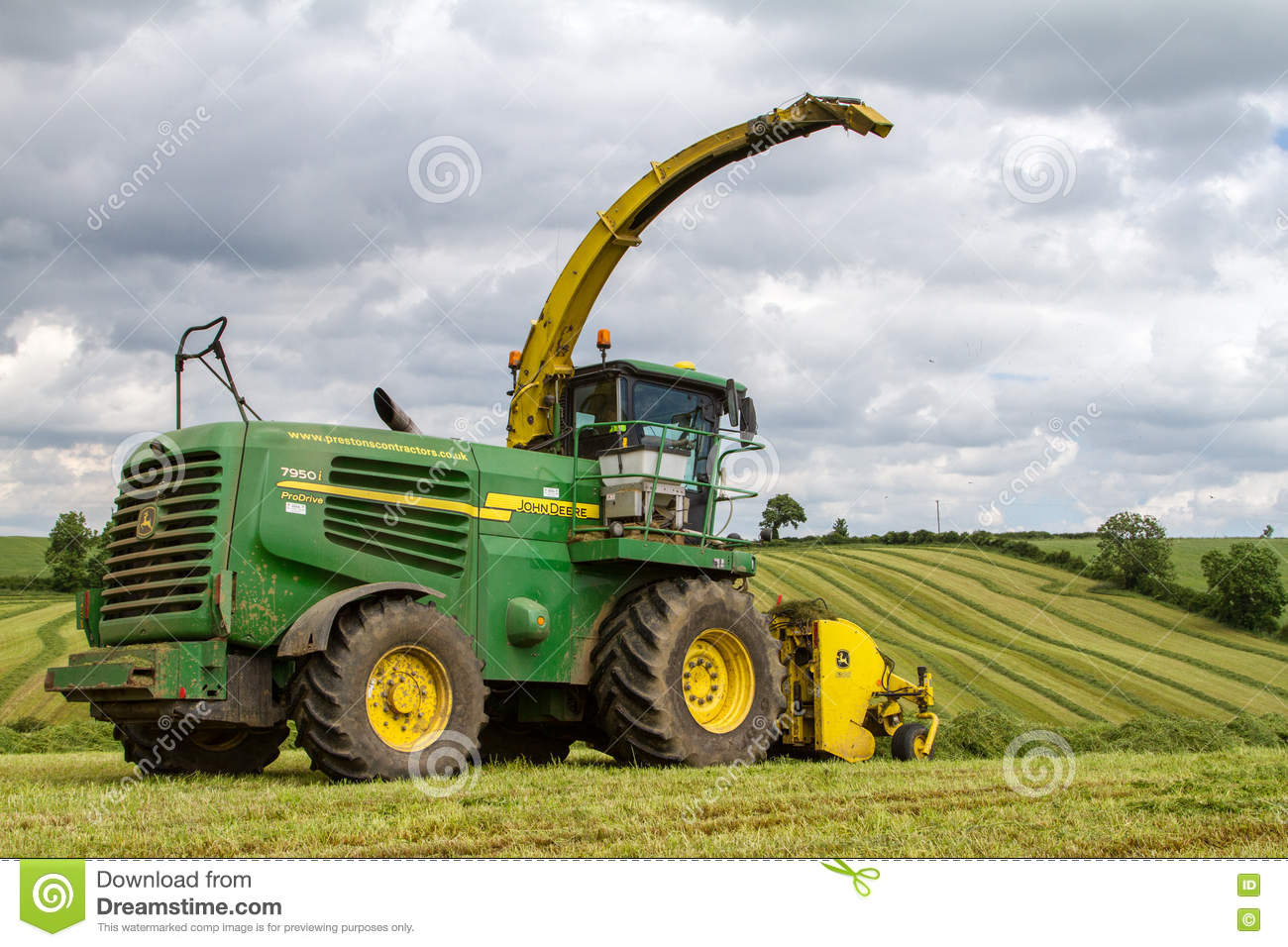 Yellow Forage Harvester Stock Illustration.