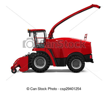 Stock Illustrations of Red Forage Harvester isolated on white.