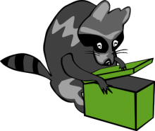 Free Raccoon Foraging Clipart.
